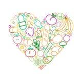 线食物象利于心脏健康的吃爱概念 库存例证