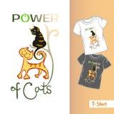 线T恤杉模板 三只手拉的滑稽的猫和CAT的题字Exellent力量 库存例证