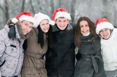 组人微笑的年轻人 免版税库存照片