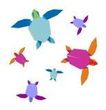 组多彩多姿的origami乌龟 免版税库存照片