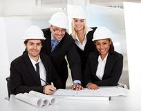 组建筑师在会议上 免版税图库摄影