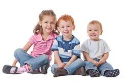 组愉快的微笑的孩子 库存照片