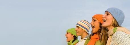 组愉快的微笑的青年时期 免版税库存照片