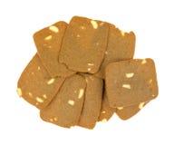 组稀薄的曲奇饼用切的杏仁 图库摄影