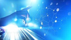 组织结构网络,在虚屏上的公司联系 企业、财务和技术概念 库存例证