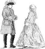 绅士和夫人历史服装的 皇族释放例证