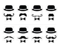 绅士图标-有髭和蝶形领结集的人 免版税库存图片