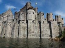 绅士,比利时03 25 2017中世纪计数的城堡Gravensteen或城堡 图库摄影