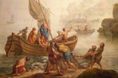 绅士-从圣皮特s教会的奇迹捕鱼 库存照片
