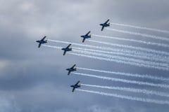 绅宝105, sk60 瑞典高翼,双喷气发动机飞机教练机 免版税图库摄影