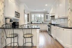 细木家具厨房白色 免版税图库摄影