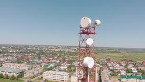 细胞塔 城市通信 空中射击 影视素材