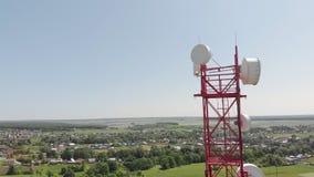 细胞塔 城市通信 空中射击 股票录像
