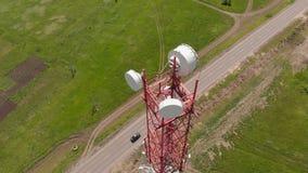 细胞塔 城市通信 空中射击 股票视频