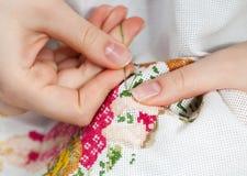 细致的刺绣用品 免版税库存图片