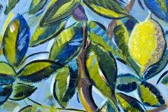 细节-柠檬树的原始的油画关闭 库存照片