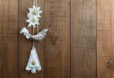 织品在一个北欧样式的圣诞节装饰 复制空间 免版税库存照片