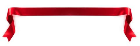 织品红色丝带 免版税库存图片