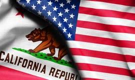 织品美国和加利福尼亚状态旗子 库存图片