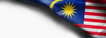 织品马来西亚的纹理旗子白色背景的 免版税库存图片