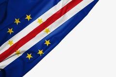 织品Caple佛得岛旗子与copyspace的您的在白色背景的文本的 库存例证