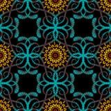 织地不很细挂毯花卉佩兹利传染媒介无缝的样式 五颜六色的装饰难看的东西背景 刺绣手拉的花, 皇族释放例证