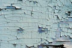 织地不很细背景崩裂了木表面上的蓝色油漆 图库摄影