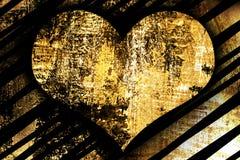 织地不很细金黄金属光亮的背景和心脏 免版税库存图片