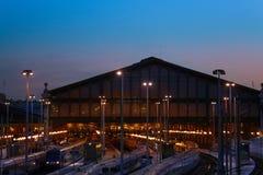 终点驻地Gare du Nord在晚上,巴黎 库存图片