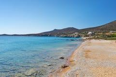 绍罗什海滩安提帕罗斯岛,希腊 免版税库存照片
