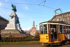 经典公共交通在米兰 库存照片
