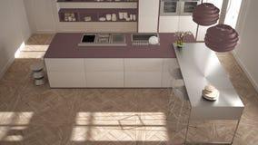 经典内部的现代有凳子和两的大窗口厨房,海岛,顶视图,白色和紫色红色建筑学内部de 库存图片