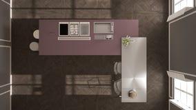经典内部的现代有凳子和两的大窗口厨房,海岛,顶视图,白色和紫色红色建筑学内部de 图库摄影