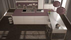 经典内部的现代有凳子和两的大窗口厨房,海岛,顶视图,白色和紫色红色建筑学内部de 免版税库存图片