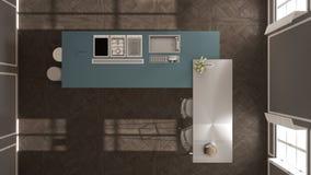经典内部的现代有凳子和两的大窗口厨房,海岛,顶视图,白色和蓝色海军建筑学内部des 库存照片
