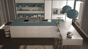 经典内部的现代有凳子和两的大窗口厨房,海岛,顶视图,白色和蓝色海军建筑学内部des 库存图片
