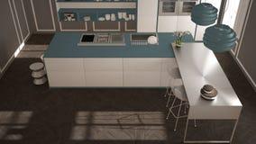 经典内部的现代有凳子和两的大窗口厨房,海岛,顶视图,白色和蓝色海军建筑学内部des 免版税库存照片