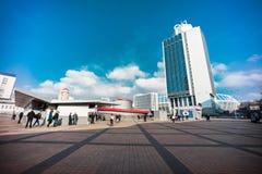 经典基辅办公室摩天大楼在城市的中心 库存照片