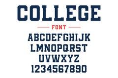 经典学院字体 葡萄酒在美国风格的体育字体橄榄球的、棒球或者篮球商标和T恤杉 向量例证