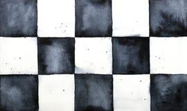 经典棋枰水彩概略背景 免版税库存照片