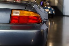 经典汽车rearlight,位于在博物馆 免版税库存照片
