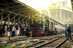 经典火车乘泰国的蒸汽机车太平洋带领了 免版税库存照片