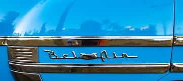 经典美国蓝色贝莱尔商标 库存照片