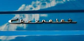 经典美国蓝色雪佛兰商标 库存照片