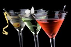 经典鸡尾酒马蒂尼鸡尾酒多数普遍的系列 免版税库存照片