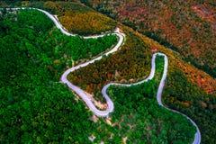 经历寄生虫和的曲线鸟瞰图在山路的 免版税库存照片
