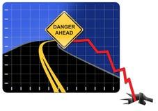 经济前面危机的危险 库存图片