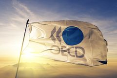 经济合作与开发组织经济合作与发展组织旗子纺织品挥动在顶面日出薄雾的布料织品使模糊 免版税库存图片