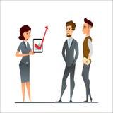 经理和雇员在办公室谈论 企业漫画人物以一团队在公司环境里 少妇和m 图库摄影