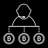 经纪,人,交换, bitcoin线象 在黑色隔绝的传染媒介例证 概述样式设计,设计为 向量例证